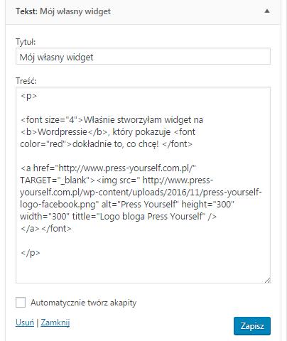 własny widget na wordpressie