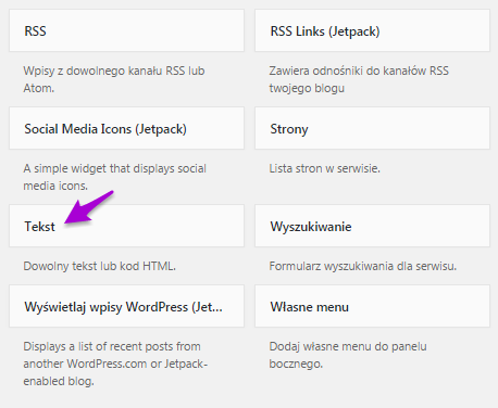 własny widget wordpress