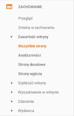 analiza treści google analytics wszystkie strony